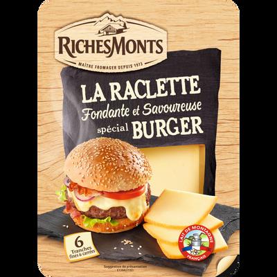 Tranches raclette fromage pasteurisé nature pour burger,26%mg RICHEMONTS , 140g