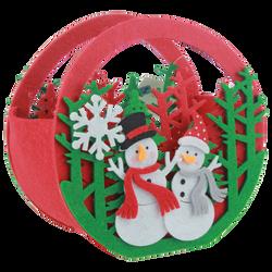 Panier de Noël rond Bonhommes de neige en feutrine 14,5x8x14cm