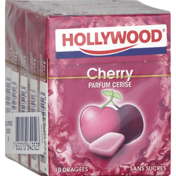 Chewing gum sans sucres parfum cerise HOLLYWOOD, 5x10 dragées, 70g