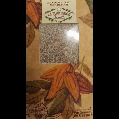 Chocolat blanc noix coco, LA PLANTATION BOVETTI, tablette de 80g
