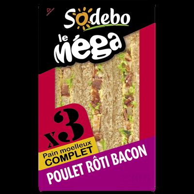 Sandwich le méga club complet poulet roti bacon SODEBO, 230g