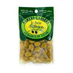 Olives vertes cassées au basil et à l'ail LE BRIN D'OLIVIER, 150g