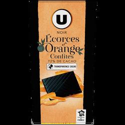 Tablette de chocolat noir dégustation 72% d'écorces d'orange U, 100g