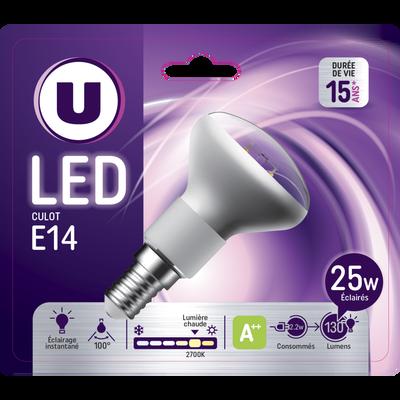 Ampoule LED PREMIUM U, spot R50 25w E14, verre filament, transparente,lumière chaude
