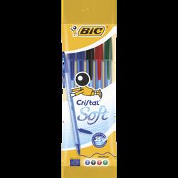 Stylo bille BIC Cristal Soft, pack de 5 coloris assortis: noir, bleu,rouge, vert