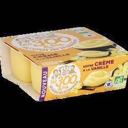 Crème dessert bio à la vanille LES 300 & BIO, 4 unités, 95g