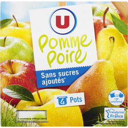 Purée de fruits aux pommes poires sans sucres ajoutés U, 4x100g