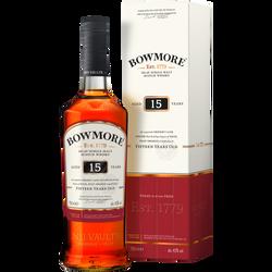 Scotch Whisky Single Malt Islay  darkest BOWMORE, 15 ans, 43°, 70cl sous étui