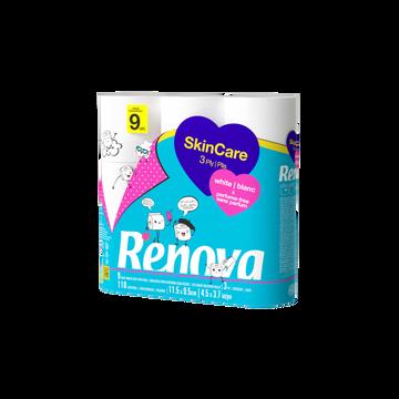 Renova Papier Toilette 3 Plis Skincare Renova, X9 Rouleaux