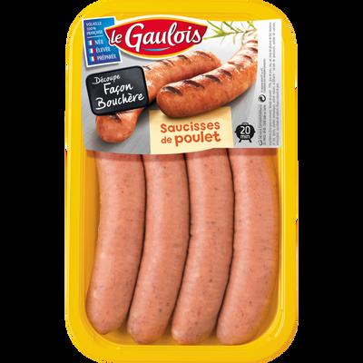 Saucisse de poulet, LE GAULOIS, 4 pièces, barquette, 320g