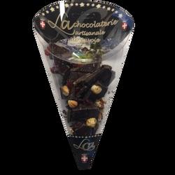 Cornet chocolat noir mendiant cranberries CHOC ARTISANALE, 100g