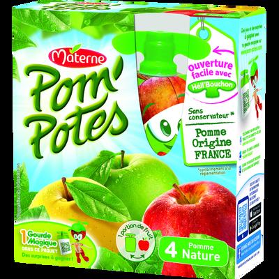 Pom'Potes allégé en sucre pomme nature MATERNE, 4x90g, 360g