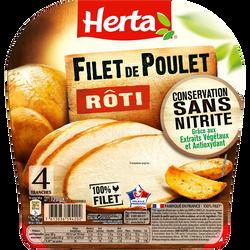 Filet de poulet rôti conservation sans nitrite HERTA, 4 tranches soit120g