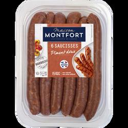 Saucisse de canard piment doux, MAISON MONTFORT, France, 6 pièces, barquette 300g