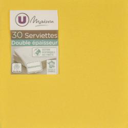 Serviettes U MAISON TEX TOUCH, 33x32cm, jaunes, 30 unités