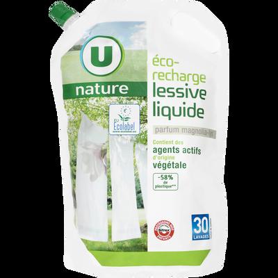 Lessive liquide parfum magnolia-lys U NATURE, recharge de 2l, 30 lavages