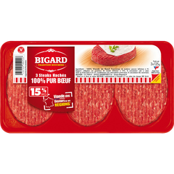 Steak haché, 15% MAT.GR, BIGARD, France, 3 pièces, 375g