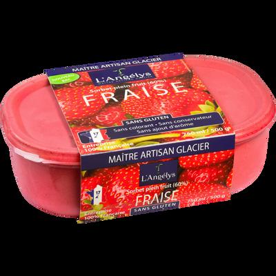 Sorbet plein fruit à la fraise L'ANGELYS, pot de 500g