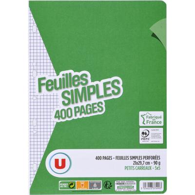 Feuille simple perforée U, 5x5, 21x29,7cm, 400 pages