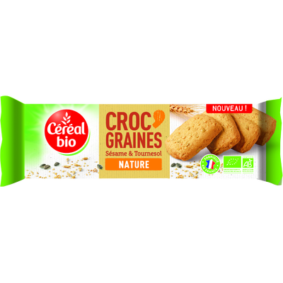 Biscuit croc'graines nature sésame & tournesol, CEREAL BIO, 140g