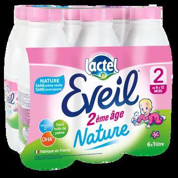 Lactel Eveil 2ème Âge Nature Ss Arôme Van.ssa 6m Lactel 6x1l