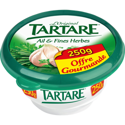 Fromage pasteurisé ail & fines herbes TARTARE, 34.5%mg, 250g