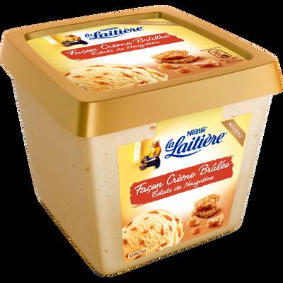 Crème glacée façon crème brûlée et éclats nougatine LA LAITIERE, pot de 430g