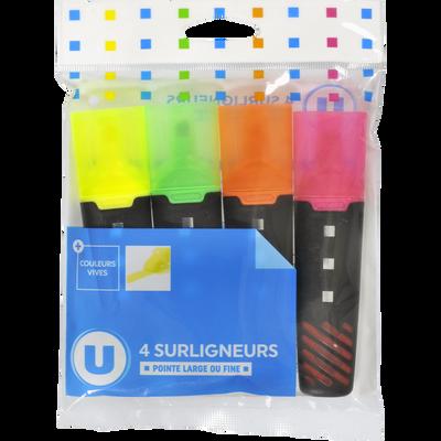 Surligneur large U, encre liquide, 4 unités, coloris assortis