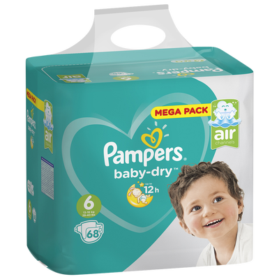 Couches baby dry PAMPERS 13-18kg mega taille 6 x68