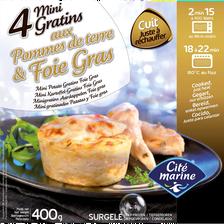 Cite Marine Mini Gratin Pomme De Terre Foie Gras , 4 Pièces, 400g
