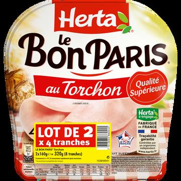 Herta Jambon Le Bon Paris Torchon Herta, 4 Tranches 2x160g Soit 320g