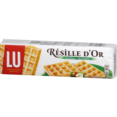 Mini gauffres lu fourrées praliné et noisette RESILLE D'OR, paquet de110g