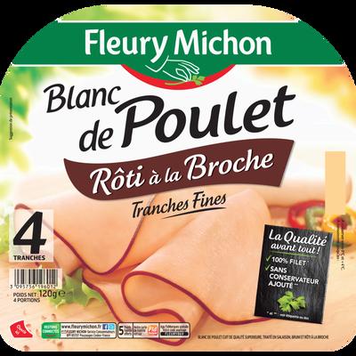 Blanc de poulet rôti tournebroche FLEURY MICHON, 4 tranches fines, 120g