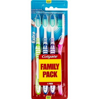Brosses à dents médium Extra Clean COLGATE, x4