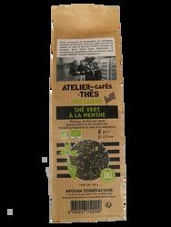 Thé vert menthe BIO, ATELIER DES CAFES ET THES, paquet 80g