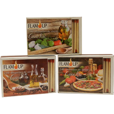 Allumettes Cuisine Pratic FLAM'UP, 3 boites de 240