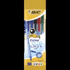 5 stylos bille Cristal Soft assortis : noir, bleu, rouge, vert