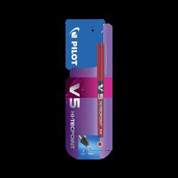 Stylo roller V5 PILOT, encre liquide à niveau visible, pointe hi-tec,écriture moyenne, sèche rapidement, rouge