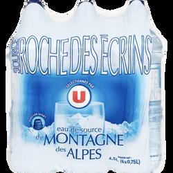 Eau de source montagne des Alpes U, 6 bouteilles bouchon sport de 75cl