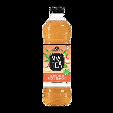 May Tea Boisson Thé Noir Infusé Maytea Parfum Pêche Blanche - Bouteille 1l