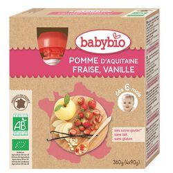 Gourde Pomme Fraise Vanille BABYBIO dès 6 mois 4x90g