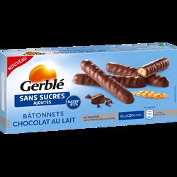 Bâtonnets chocolat au lait sans sucres ajoutés GERBLE, 125g