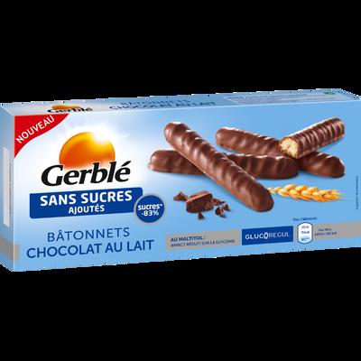 Bâtonnets chocolat au lait sans sucres ajoutés GERBLE, paquet de 125g