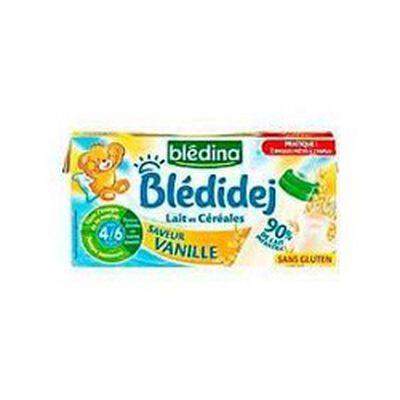 Blédidej Céréales au lait saveur vanille dès 6 mois BLEDINA, les 2 briques de 250ml