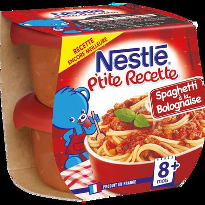 P'tite Recette spaghetti à la bolognaise NESTLÉ, 2 bols de 200g