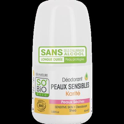 Déodorant karité peaux sensibles/sèches bio SOBIO bille 50ml
