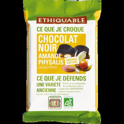 Chocolat noir 65% amandes entières physalis Pérou bio ETHIQUABLE, tablette de 100g