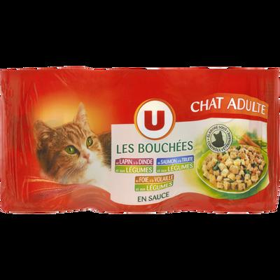 Bouchées de sauce pour chat au lapin, dinde, saumon  et truite, foie et volaile, légumes U, 3 unités, 400g