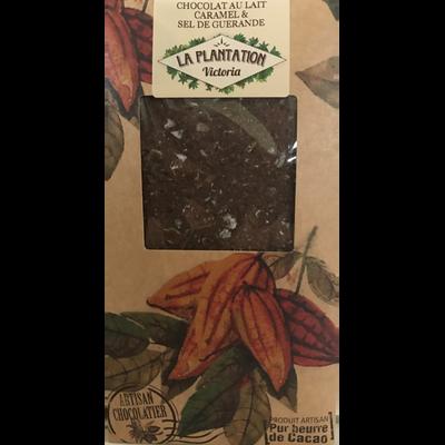 Chocolat au lait caramel&sel de Guérande, LA PLANTATION BOVETTI, tablette de 80g