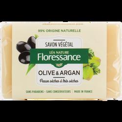 Savon végétal nourrissant pour peaux sèches olive et argan FLORESSANCE, 100g